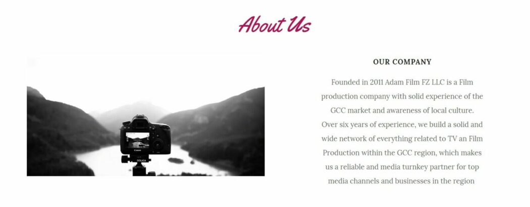 Adam film production house website