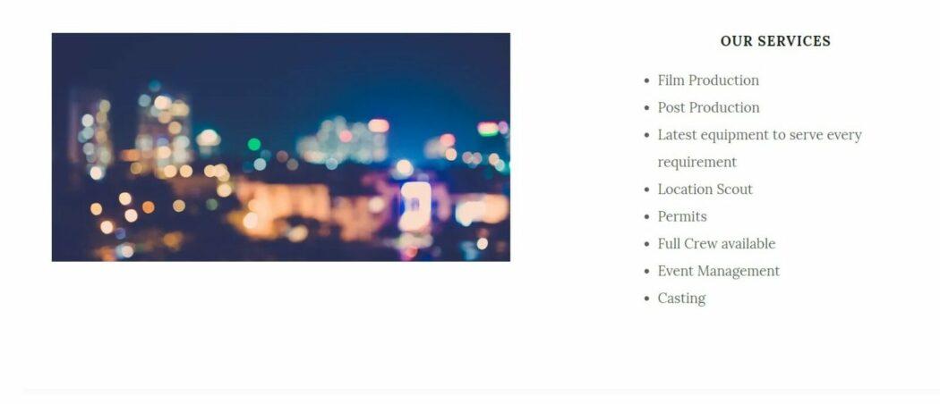 Adam film services website