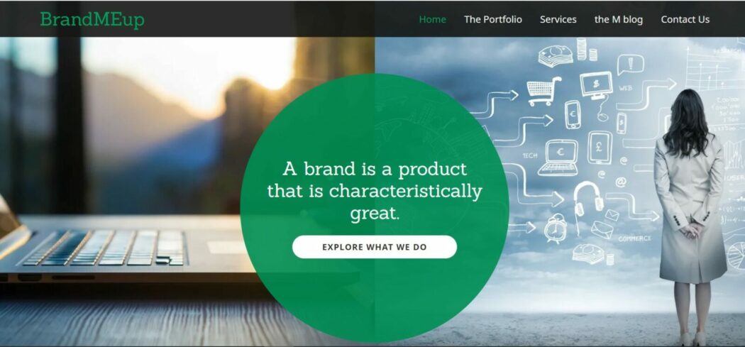 Brand me up website homepage