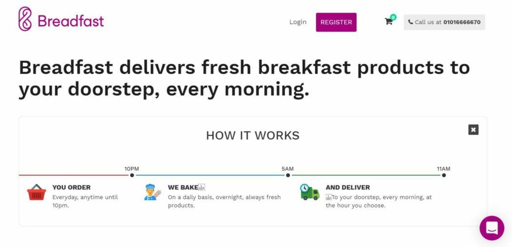 breadfast startup website homepage