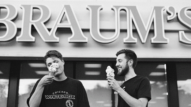 customer satisfaction men eating ice cream