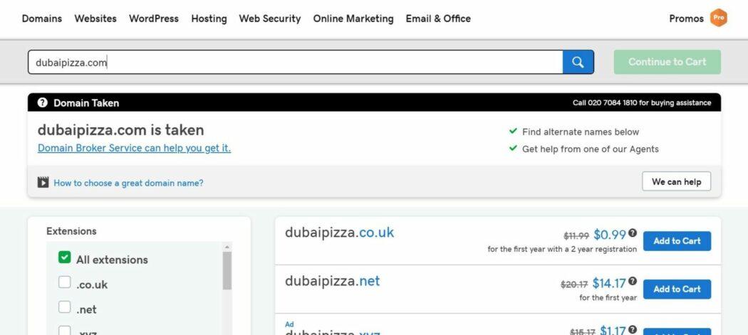 domain extension duabi pizza