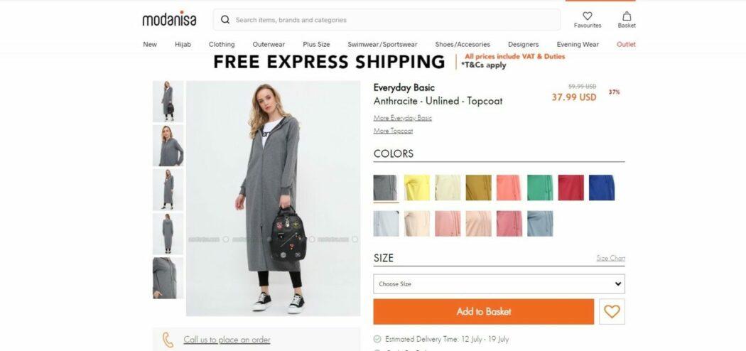 modanisa website design