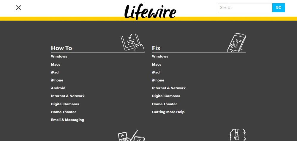 website homepage lifewire navigation menu