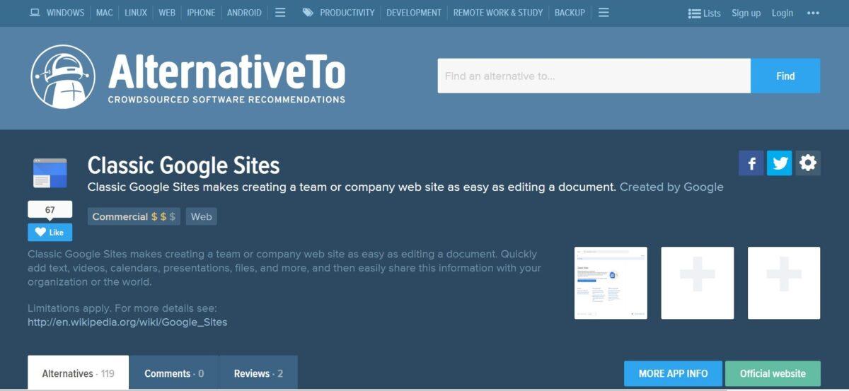 Competitive analysis website Alternativeto