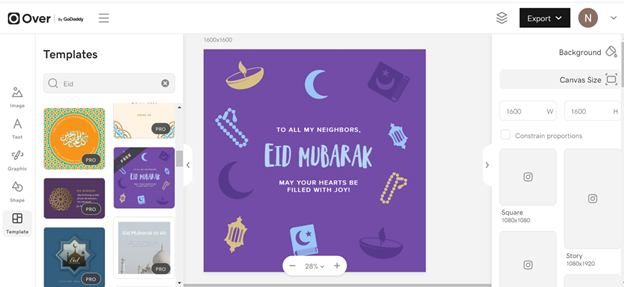 Eid Al-Fitr customized greeting cards Over App GoDaddy