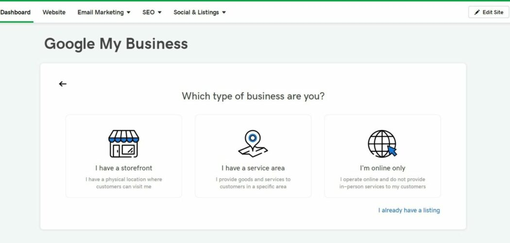 Google my business website builder