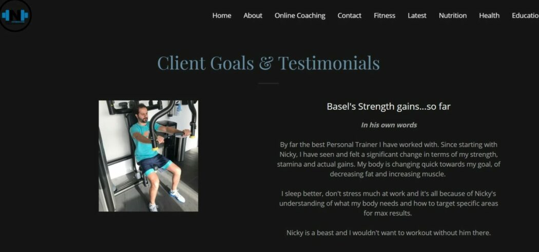 Nicky Fitness testimonial page