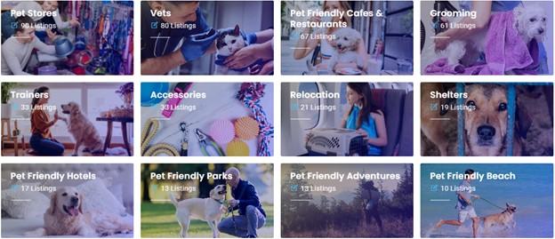 Pet With It website categories