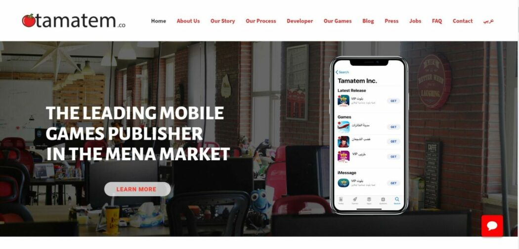 business website tamatem homepage