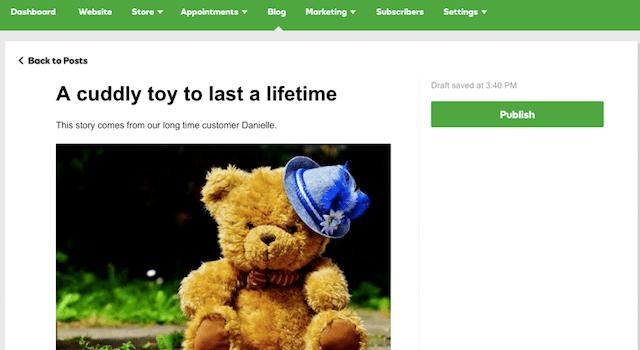 website builder blog feature