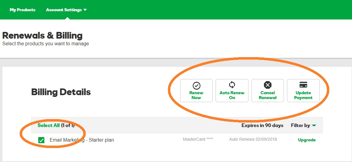 godaddy domain auto renewal control panel renewals and billing