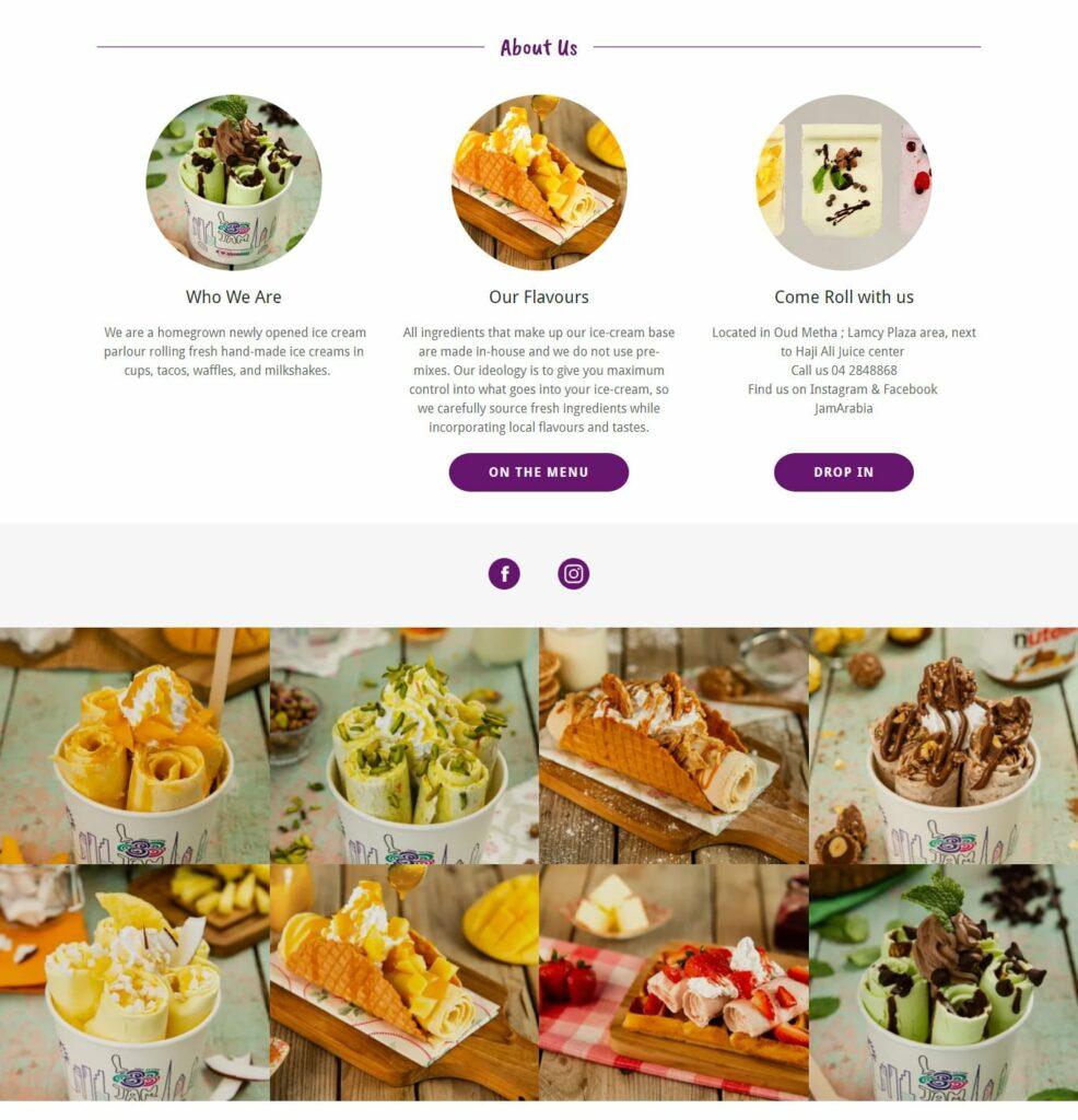 jam rolled ice cream dubai create a website homepage