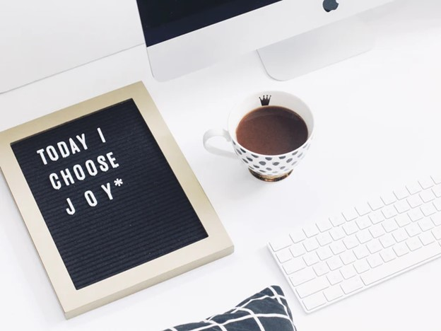 quote, coffee, desk and computer