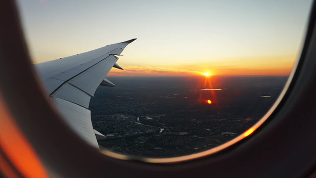 sunset from the plane window