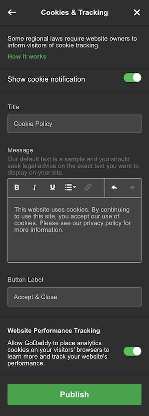 GoDaddy's website builder cookie customization